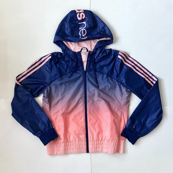 New Adidas Neo front logo hooded jacket ombré